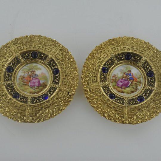 Винтажные бронзовые тарелки с фарфоровыми вставками