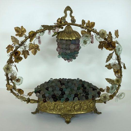 Винтажная лампа из бронзы и стекла Мурано