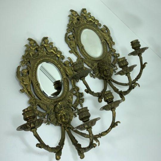 Антикварные бронзовые бра на три свечи с зеркалами в стиле Ренессанс